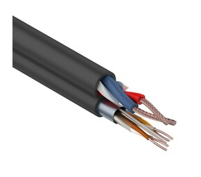 Мульти-кабель FTP 2PR 24AWG CAT5e+2х0.75мм?., 200м., черный, OUTDOOR REXANT