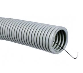 ДКС Труба ПВХ гибкая гофр. д.20мм, лёгкая с протяжкой, 100м, цвет серый
